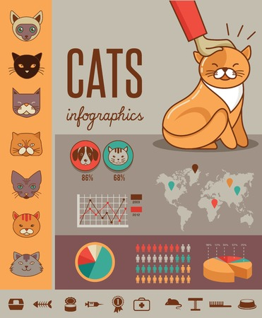 Cat infographics with vector icons set Vector