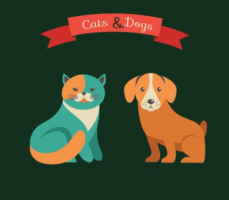 friend chart: Cat and dog infographics with vector icons set Illustration