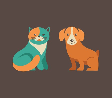 blue siamese cat: Collection of cat and dog vector icons and illustrations Illustration