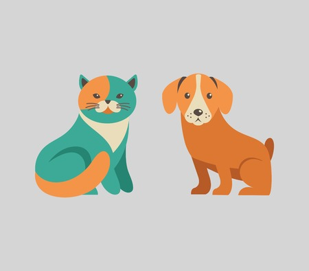 Collection of cat and dog vector icons and illustrations Ilustração