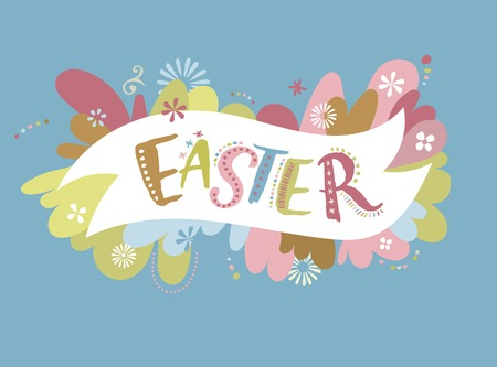 egg hunt: Happy easter - vector card Illustration