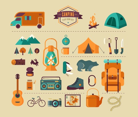 camping equipment: Hiking and camping equipment  - icon set and infographics Illustration