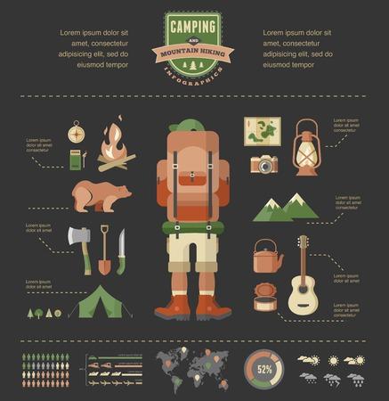 escalando: Senderismo y camping equipo - conjunto de iconos e infografías Vectores