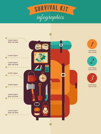 Hiking and camping concept - survival kit infographics 矢量图像