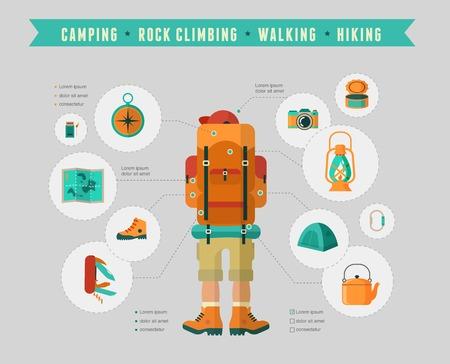 escalada: Senderismo y camping equipo - conjunto de iconos e infograf�as Vectores
