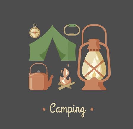 tourist information: Hiking and camping vintage hipster poster Illustration