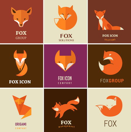 hunting dog: Fox icons, illustrations and elements