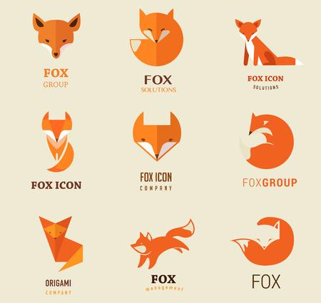 lobo: Fox iconos, ilustraciones y elementos Vectores