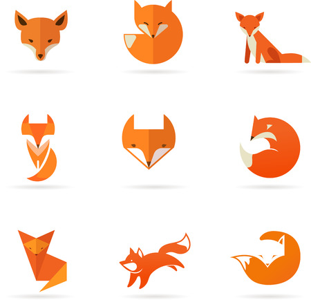 wolves: Fox icons, illustrations and elements
