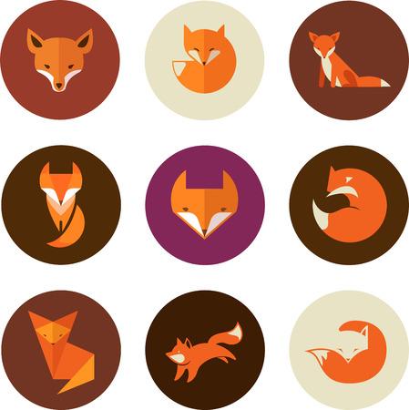 Fox iconos, ilustraciones y elementos Ilustración de vector