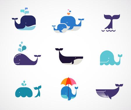 Verzameling van vector walvis iconen Stock Illustratie