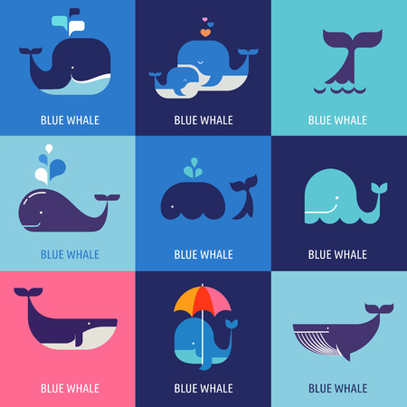 shark teeth: Collection of vector whale icons