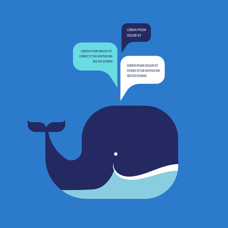 whale icon with speech bubbles Vettoriali