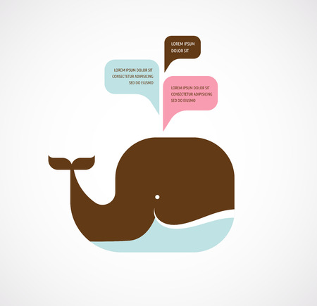 googly: whale icon with speech bubbles Illustration