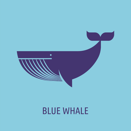 whale icon on the blue baground Illustration