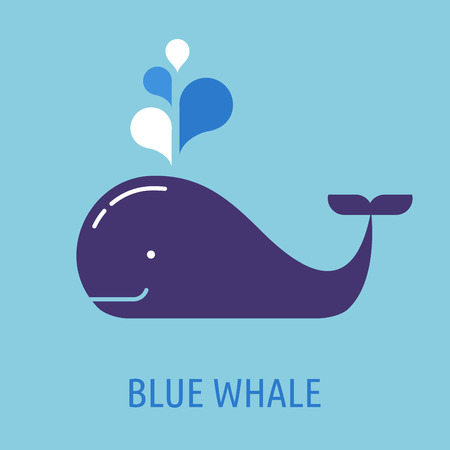 blue whale: whale icon with speech bubbles Illustration
