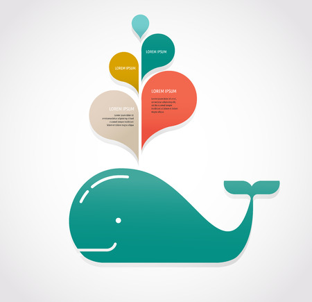 pink dolphin: whale icon with speech bubbles Illustration