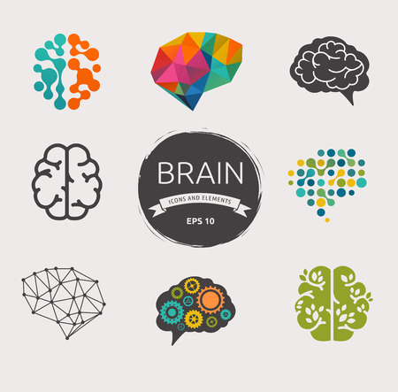 lightbulbs: Collection of brain, creation, idea icons and elements