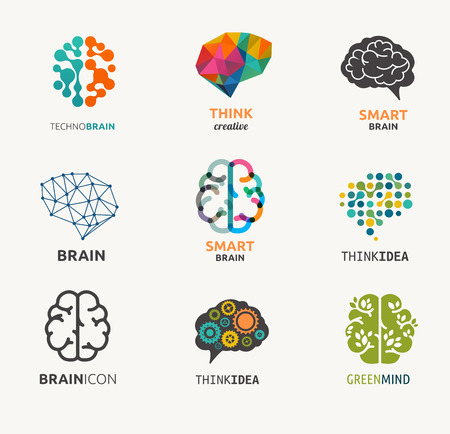 thinking: Collection of brain, creation, idea icons and elements