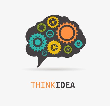 inspiration education: Brain, creation, idea icon and element