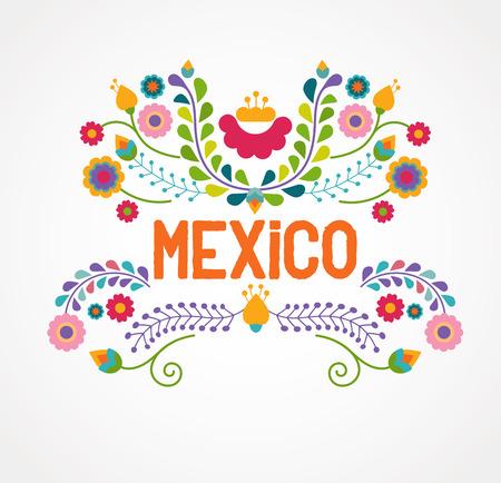 flor: México flores, patrón y elementos