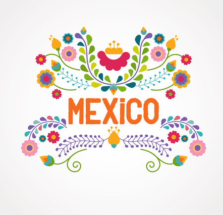 mexico map: Mexico flowers, pattern and elements Illustration
