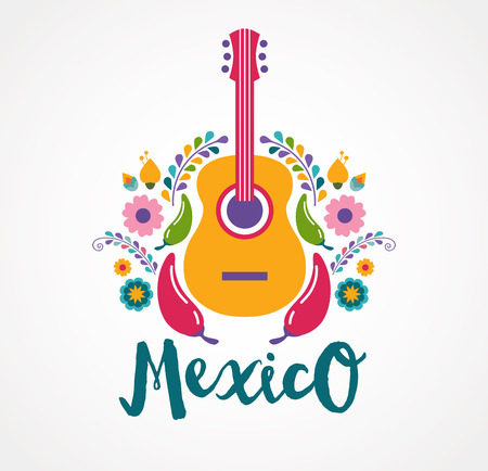 guitar: Mexico music and food elements