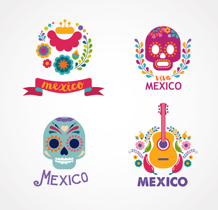 Mexico music, skull and food elements 일러스트