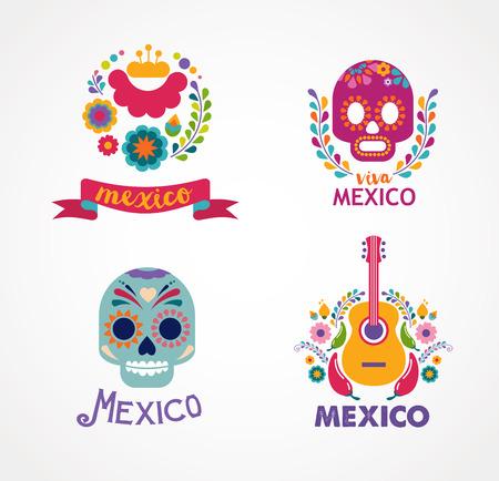 Mexique musique, crâne et éléments alimentaires