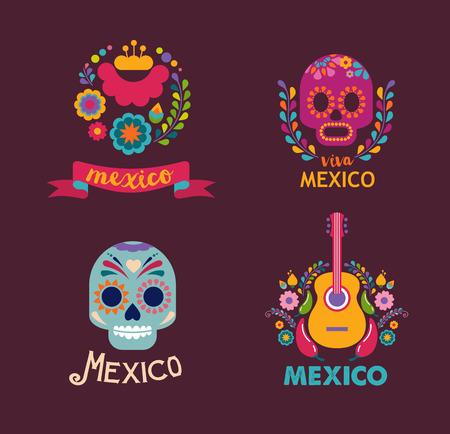 traje mexicano: México música, cráneo y elementos del alimento Vectores