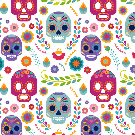 food illustrations: Mexico pattern with skull and flowers
