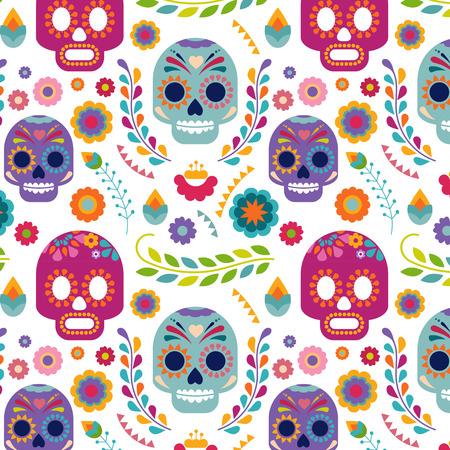 muerte: Patrón de México con el cráneo y las flores Vectores