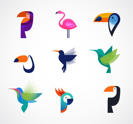 Tropical birds - set of vector icons