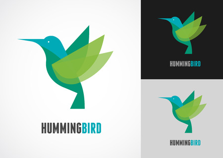 tropical bird: Tropical bird - humming vector icon Illustration