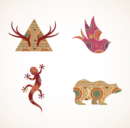 Collection of patterned Bohemian, Tribal objects, elements and icons Vector