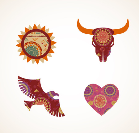 bohemian: Collection of patterned Bohemian, Tribal objects, elements and icons
