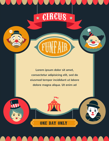 vintage circus poster, background with carnival