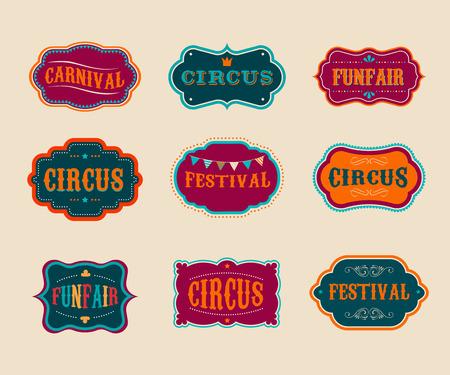 Tiquettes Cirque vintage set Banque d'images - 38212626