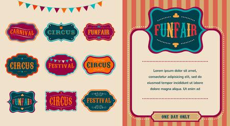 fondo de circo: Etiquetas circo serie Vintage