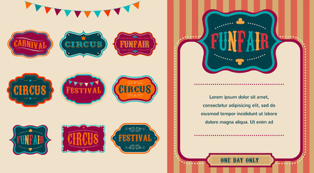 circus background: Vintage Circus labels set