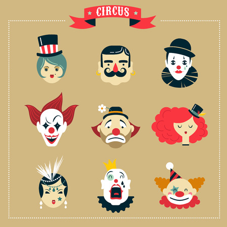 payaso: Circo del vintage, muestran iconos monstruo y personajes inconformista