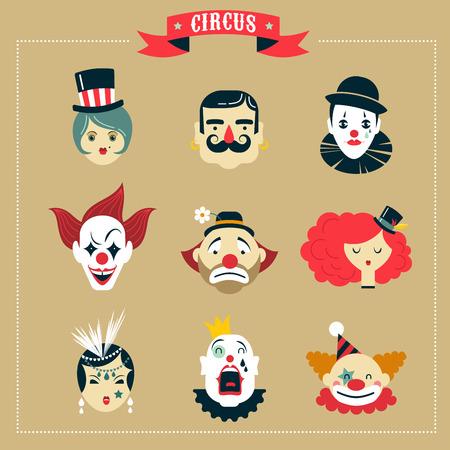 clown cirque: Vintage Circus, afficher des ic�nes de monstres et personnages hipster