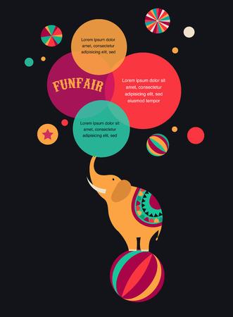 payaso: cartel del circo del vintage, fondo con elefantes y bocadillos