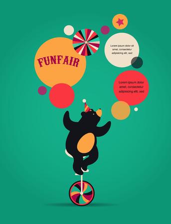payasos caricatura: cartel del circo del vintage, fondo con el oso