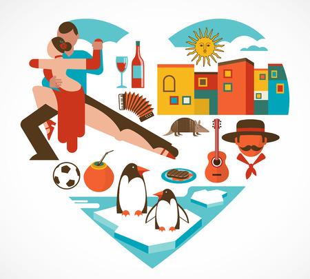bandera argentina: Argentina amor - coraz�n con un conjunto de iconos