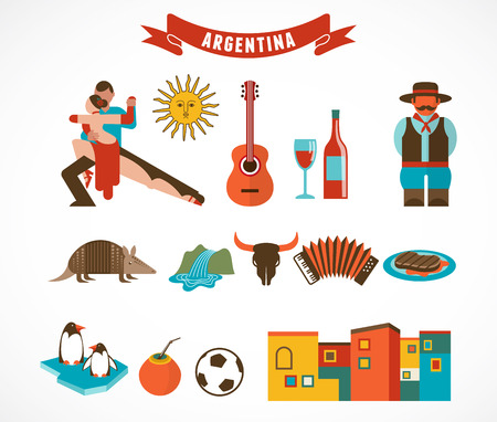 latin: Argentina - set of icons Illustration