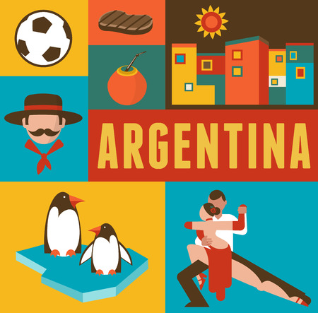 Argentinië poster en achtergrond met set van pictogrammen
