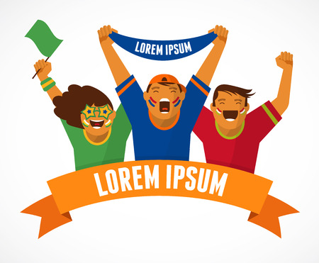 supporters: Group of sport fans Illustration