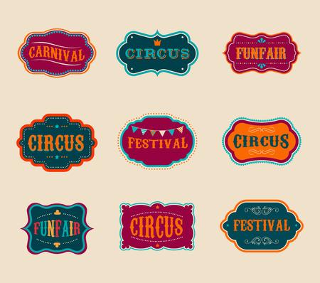 carnival tent: Vintage Circus labels set