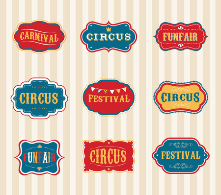 circus poster: Vintage Circus labels set